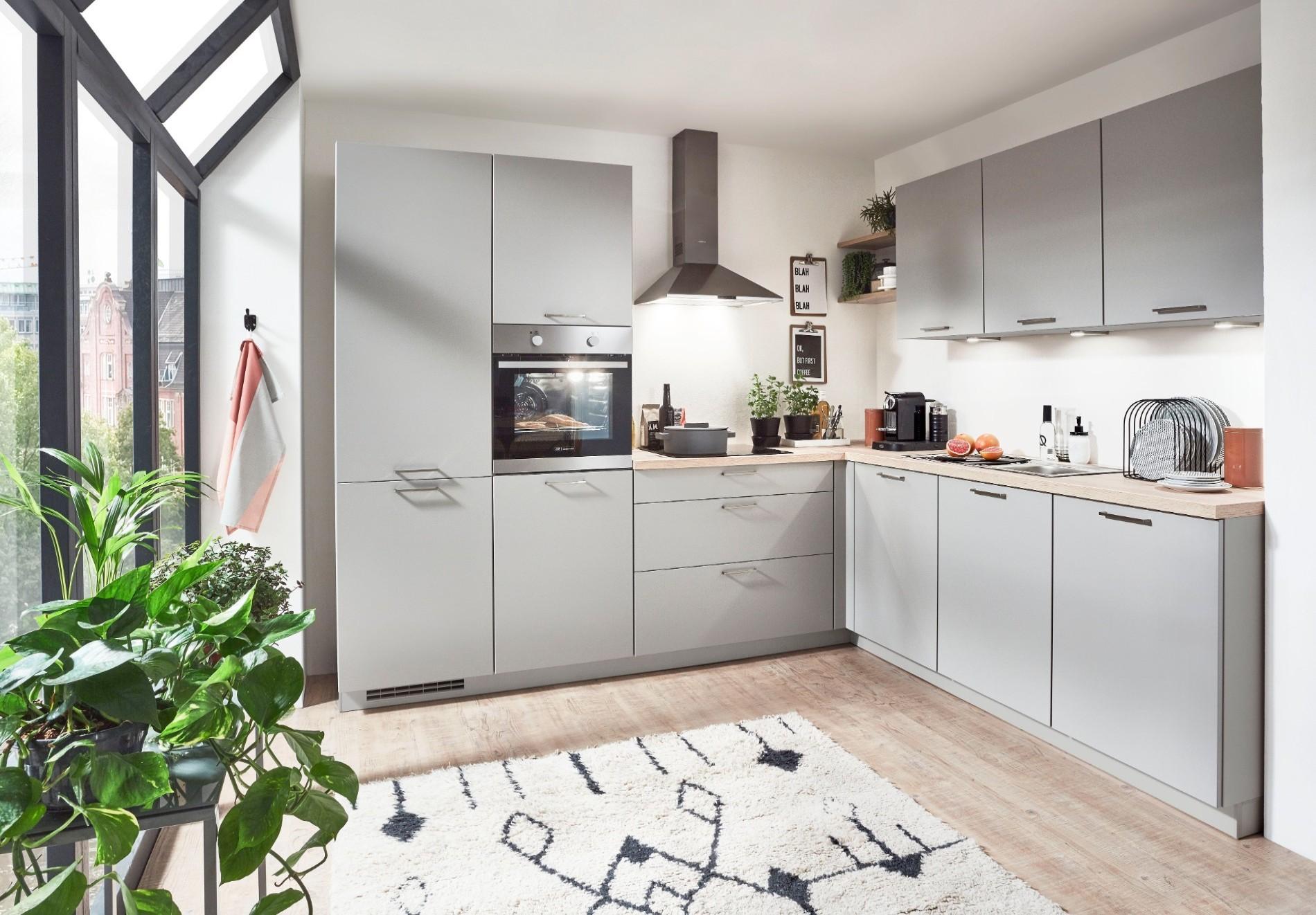 moderne grijze keuken
